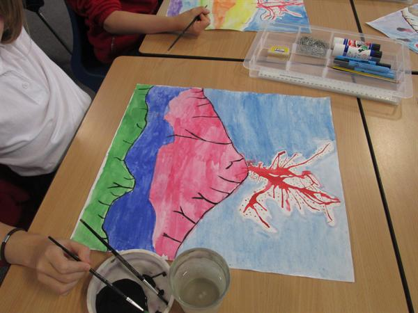 Working on our Volcano art.