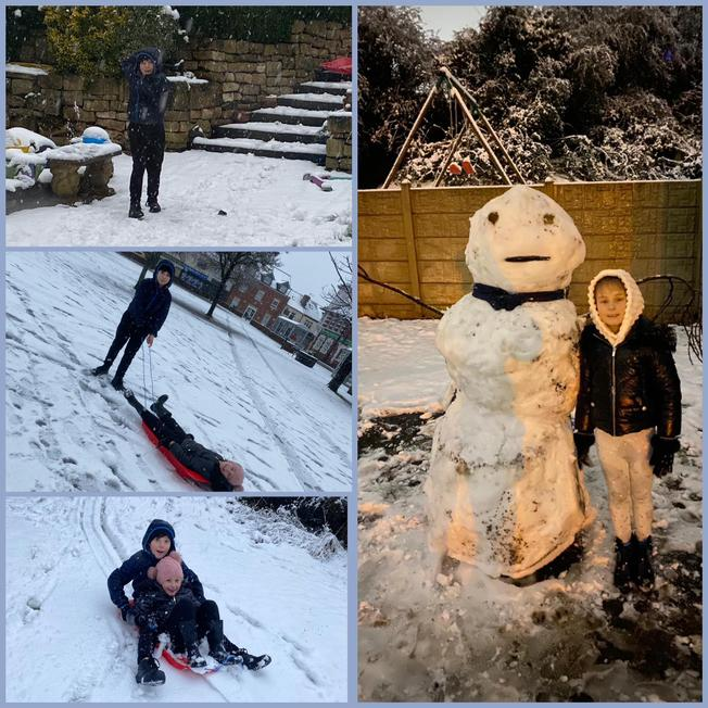 Rhys and his sister sledging and building a snowman