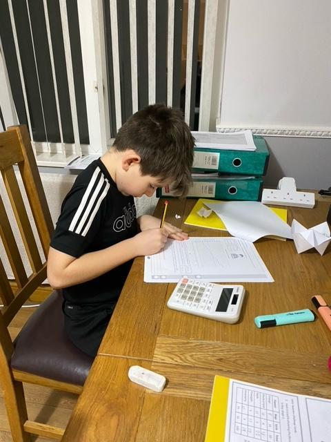 Rhys concentrating on his work