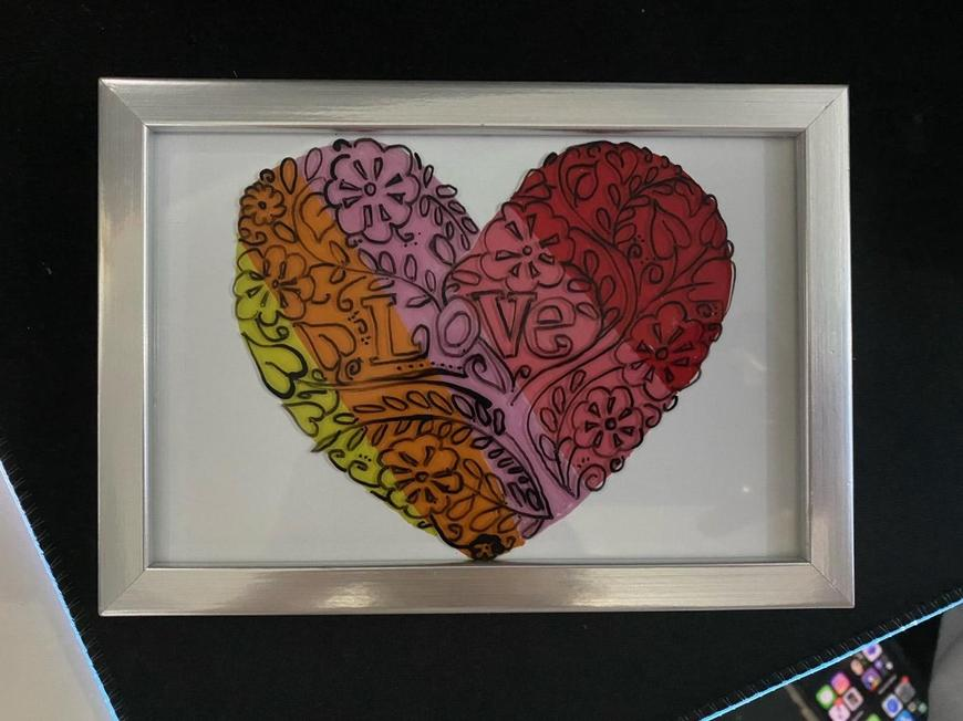 Rhys Q glass painted heart