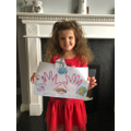 Isla created her own hand washing poster