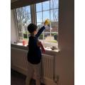 Ben helps ut at home - sparkiling windows!