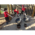 Imaginative play in the sand area