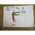 Joshua made a hand washing poster