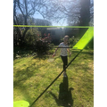 Mia does badminton