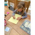 Emi working hard on her Owl Babies front cover