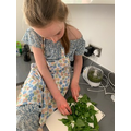 Chopping the spinach