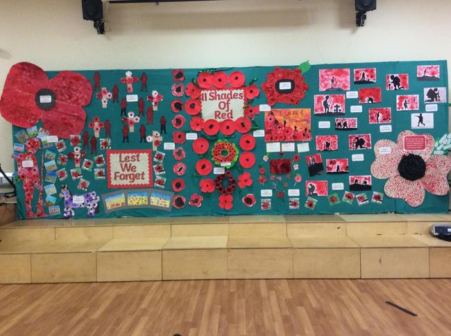 Whole school display for Remembrance