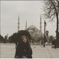 Mrs Parveen at the Blue Mosque in Istanbul Turkey.