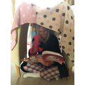 Mrs Bexon's daughter made her a reading den