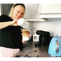 Miss Carter making iced coffee for the first time.jpg