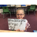 Tara's big smile after completing her tricky maths.