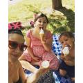 Miss Worrall, Lottie and Reina enjoying ice-creams