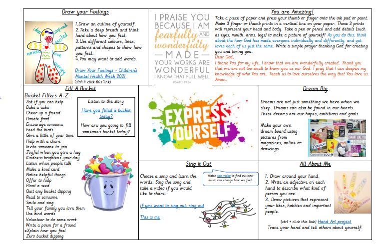 Select an activity from the Express yourself boards