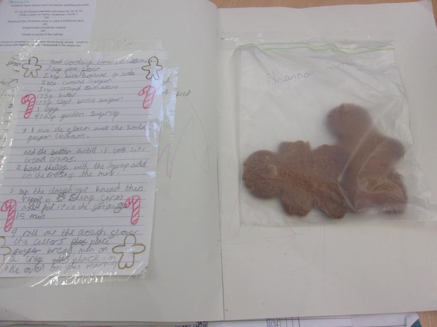 Shannon baked gingerbread for her homework