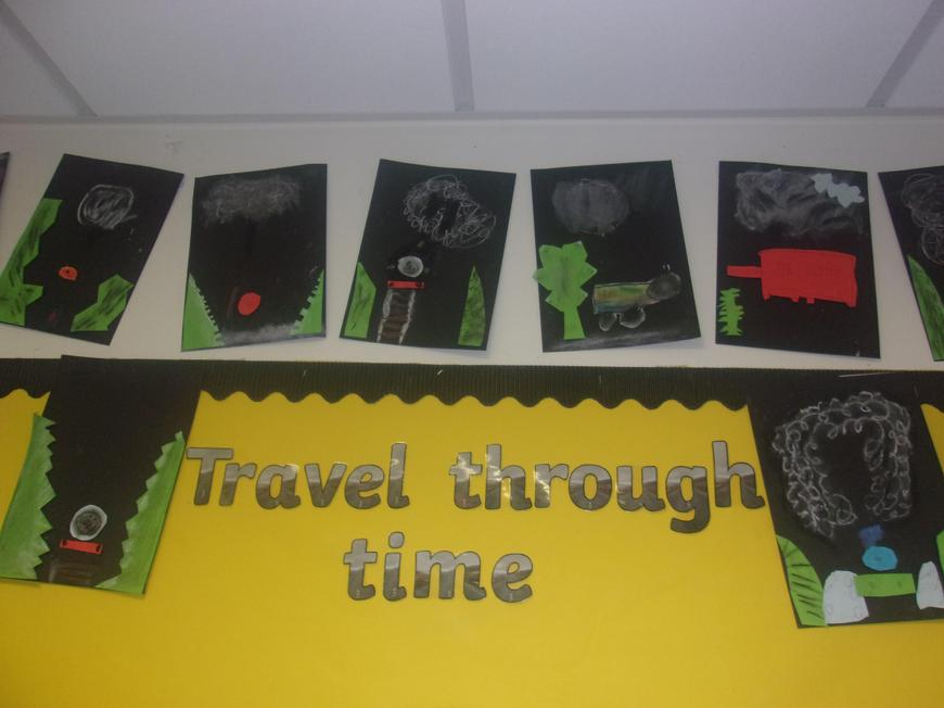 Pastel artwork and card: trains