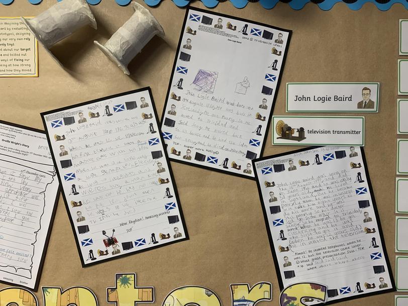 Y2 Cross-curricular writing - Fact files about inventor John Logie Baird (Autumn Term)