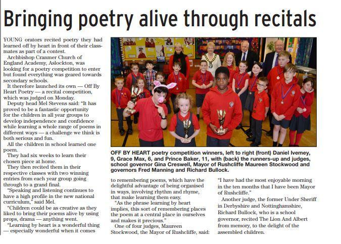 April 2018 Poetry Recitals Judeged by the Mayor of Rushcliffe