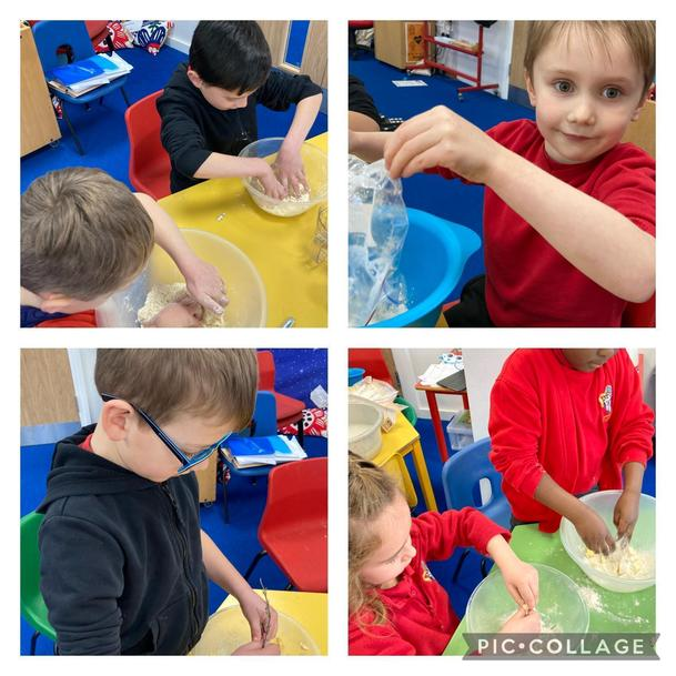 We made savoury straws. We chose between cheese, garlic, herbs or spices to add flavours.