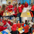 Year 5 creating parachutes to investigate air resistance with a fair test experiment