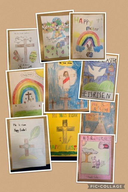 Super Easter posters made by EYFS through to Year 6