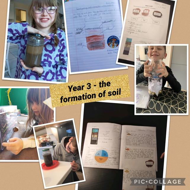 Investigating soil layers, researching soil types and making compost