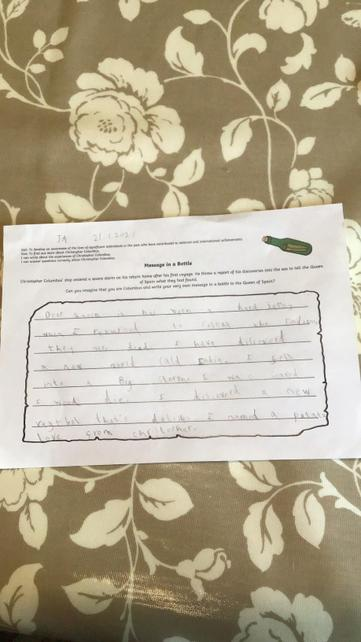 Y2 Message in a bottle writing, taking on the character of Columbus, caught in a storm