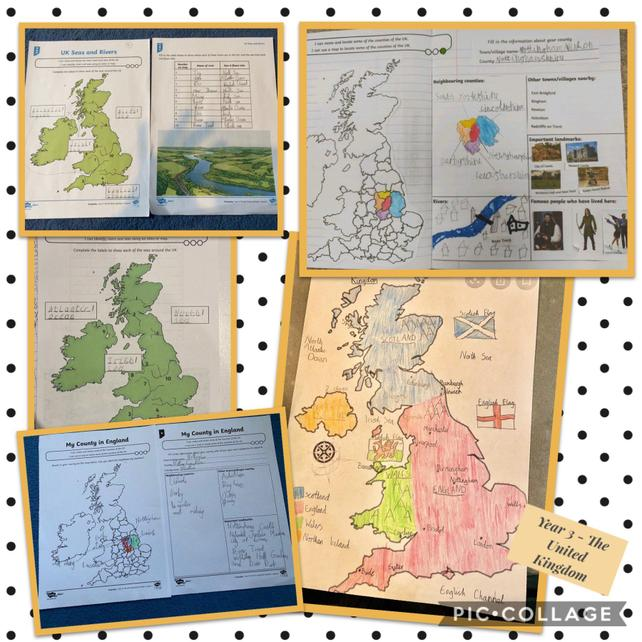 Map use to name and locate the countries, cities countries, rivers and seas in the UK