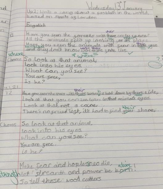 Year 5 wrote song lyrics in the style of Streets of London by Ralph McTell