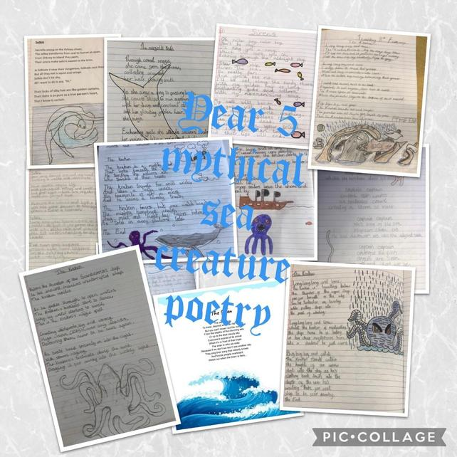 Sea creature poetry: a variety of word classes and figurative language creating imagery