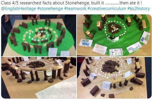 Y4/5 making an edible Stonehenge model
