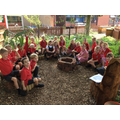 Enjoying Literacy in our outside area