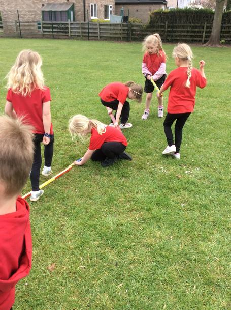 We used metre sticks and our new measuring skills to help us.