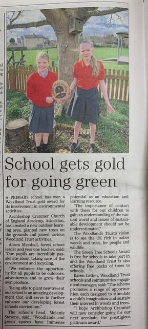 Recognition for our outdoor learning area and passion for taking care of the environment