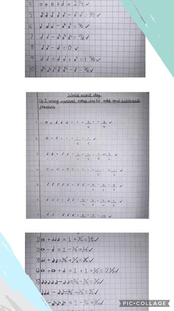 To celebrate World Music Day,Y5 used their knowledge of musical notes to + and - fractions
