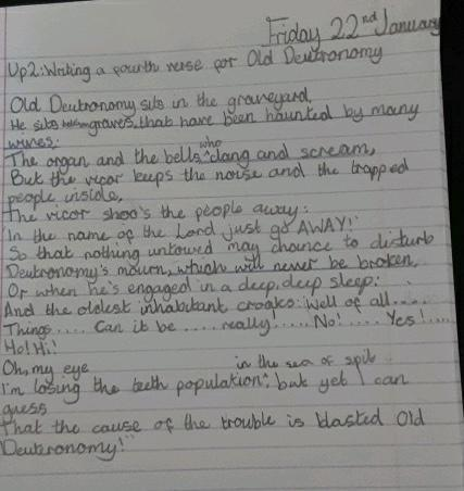 We wrote a fourth verse of TS Eliot Old Deuteronomy