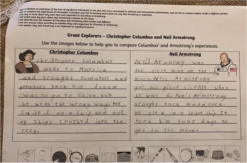 Comparing Explorers Columbus and Armstrong in Y2 Topic