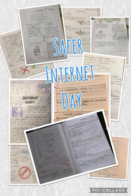 Year 5 creating posters after learning about reliability to create an internet we trust