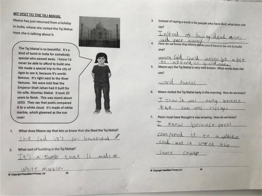 Year 2 Reading Comprehension