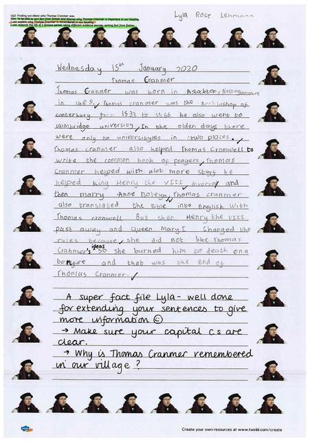 Year 2 Fact File about Thomas Cranmer