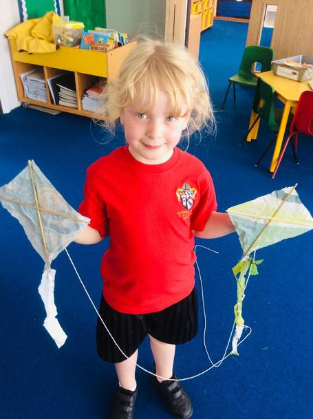 We recycled plastic bags and made them into kites!
