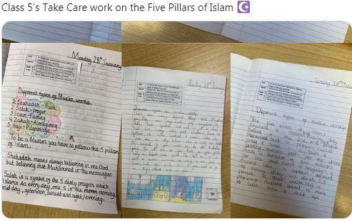 Y5 writing on the 5 Pillars of Islam