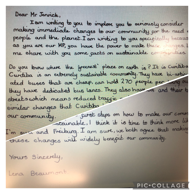 Y 6 Writing to our local Mp to suggest ways to improve our locality