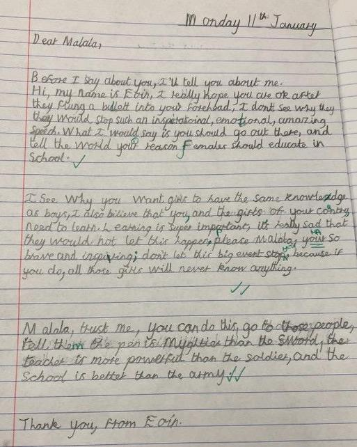 Year 5 wrote letters to Malala after studying speech features & studying her speech to UN