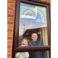 R and his sister with their rainbow