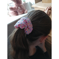 N.Q and her hair scrunchy she made herself.
