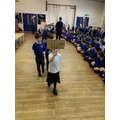 Showing our Climate Change signs to Year 6