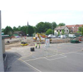The fence surrounding the playground is removed.