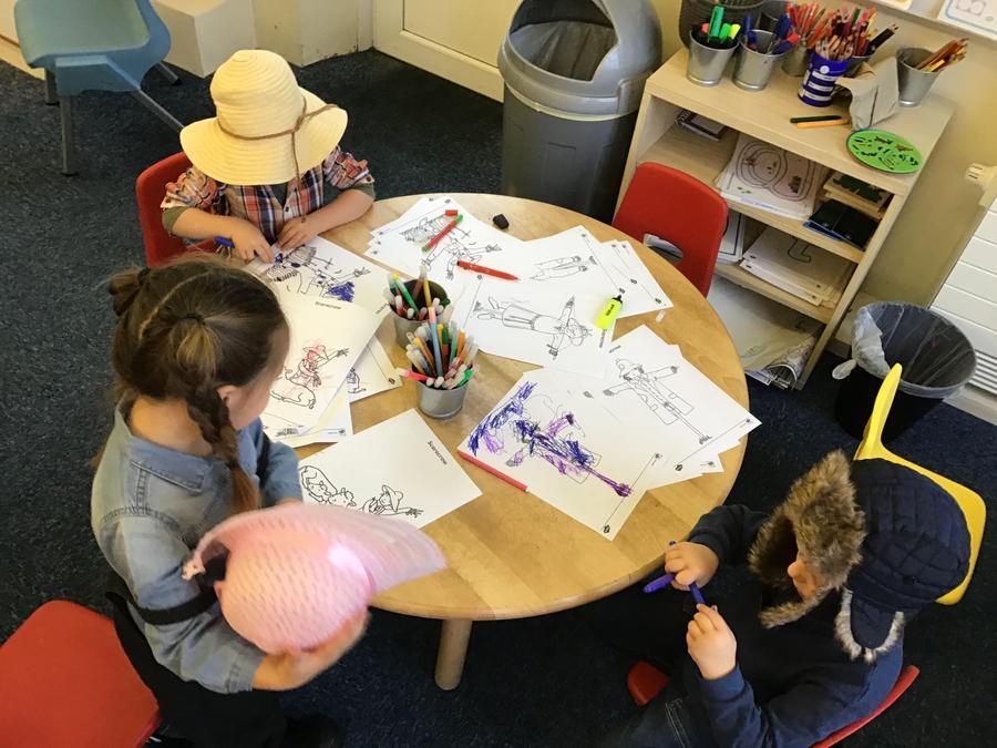 Colouring scarecrows