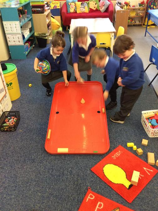 We chose shapes to roll push down the ramp